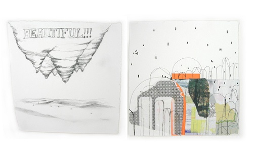 "Christine Kesler's drawings from ""I began building on a piece of land"""